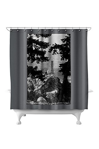 Cheyenne Drapes (Colorado Springs, Colorado - View of the Will Rogers Shrine of the Sun on Cheyenne Mt. (71x74 Polyester Shower Curtain))