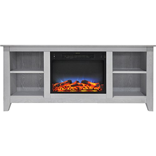 Fireplace Santa Monica - Cambridge CAM6226-1WHTLED Santa Monica 63 In. Electric Fireplace & Entertainment Stand in White w/ Multi-Color LED Insert