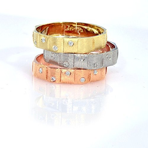 - 14k tri color gold textured gold band with diamonds
