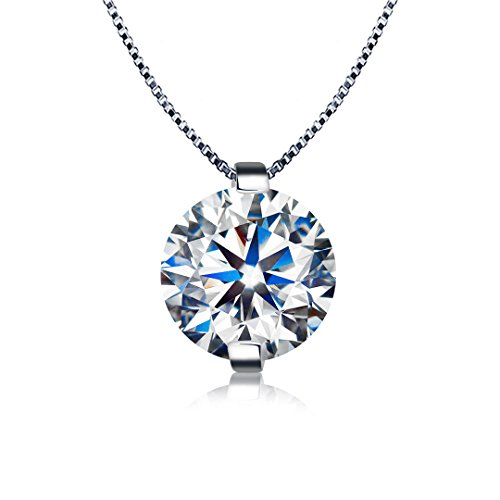 Kigmay Jewelry 925 Sterling Silver 2 Carat Round Cut Clear Cubic Zirconia CZ Glistering Solitaire Pendant Necklace for Women 18
