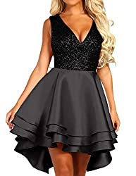 Women's Sequin Glitter V-Neck Skater Mini Dress