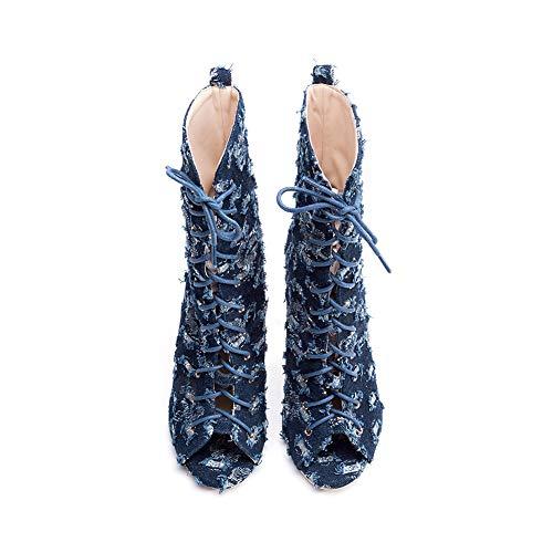 Femmes 12Cm Tempérament La Hauteur Denim Bout Ronde Du Talon Blue Journée Longue Stiletto Mode Ouvert Trou Dentelle Chaussures Sandales Habillées Tête SwFrHS