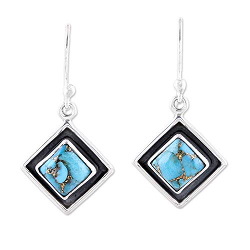 - NOVICA Reconstituted Turquoise .925 Sterling Silver Dangle Earrings, Trendy Kites in Blue'