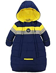 iXtreme Baby Boys Newborn Colorblock Stripes Carbag 1Pc Puffer Winter Snowsuit, Navy, 3-6 Months
