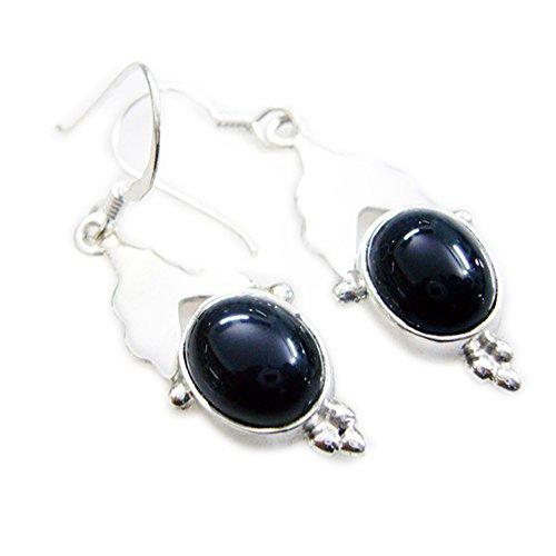 Natural Black Onyx Earring For Women Sterling Silver Long Hook Pear Shape Jewelry Handmade Cabochon Cut
