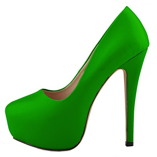 fereshte Women's Sexy Closed Toe Platform Stiletto Heel Simple Dress Pump Matt Deep Green sZ5xmM
