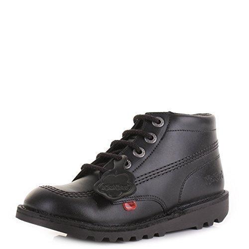 Kickers Kick Hi Youth Boys Core schwarz Leder Schule Freizeit Schuhe Stiefel