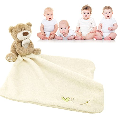 (Flykee 30cm Children Baby Kids Appease Towel Snuggle Blankie Plush Toy with Bear Soothing Smooth)