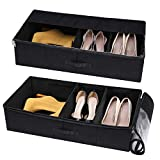 VEAMOR Multifunctional Under Bed Storage Boxes Flexible Clapboards Foldable Shoe Organizer Bins for Clothing Blanket Sheets (Black 2pcs)