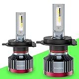 DriveVision H4 / 9003 / HB2 LED Headlight Bulb Conversion Kit, 6000 Lumens 6000K Xenon-White, Dual-Beam (hi/Low) Superbright DX3000 Series - 2 Year Warranty