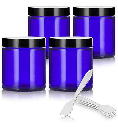 Cobalt Blue Glass Straight Sided Jars - 4 oz / 120   ml ( 4 pack) + Spatulas
