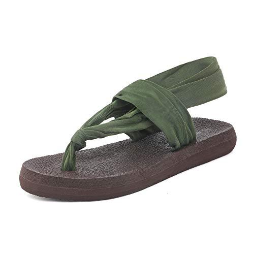 (DREAM PAIRS Women's Army Green Yoga Flat Sandals Slingback Flip Flops Size 5 M US)