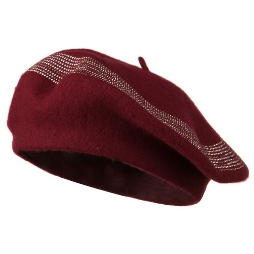 Stone Lined Wool Beret - Wine OSFM