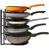 Pan Pot Lid Rack Organizer Heavy Duty,Kitchen Cabinet Cookware Rack Countertop Pantry Storage Holder, Black (Upgraded version)