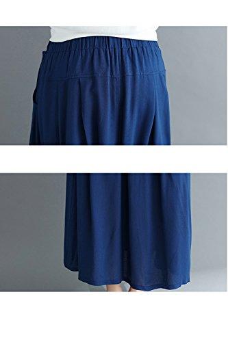 Poche Solide avec Zonsaoja Blue Maxi Femmes Jupe Les lastique Longue Dcollet qOBZ0