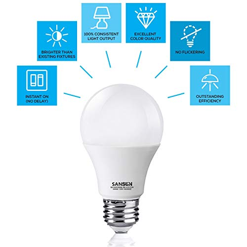 A19 LED Light Bulbs 60 Watt Equivalent, SANSUN 3000K Soft White, Non-Dimmable, 6-Pack