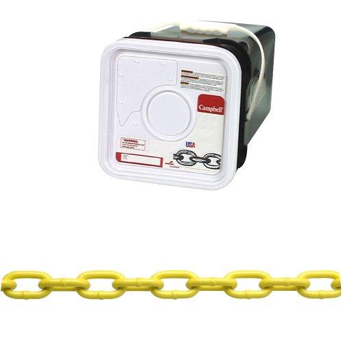 [해외]캠벨 PD0143426 시스템 3 등급 30 저탄소 강철 스틸 사각 코일, 사일로 폴리에틸렌, 1/4 무역, 0.26 직경, 75 '길이, 1300/Campbell PD0143426 System 3 Grade 30 Low Carbon Steel Proof Coil Chain in Square Pail, Yellow Polycoated, 1 4  T...