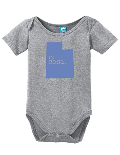 Utah Home Mi Casa Printed Infant Bodysuit Baby Romper Gray 6-12 - City 11 Utah 7 Park