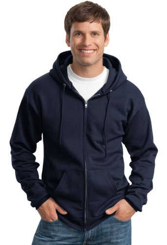 - Port & Company Men's Classic Full Zip Hooded Sweatshirt XL Navy