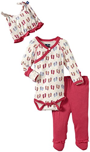 KicKee Pants Ruffle Kimono Gift Set (Baby) - Natural Flip Flop-NB