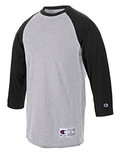 Champion Men's Raglan Baseball T-Shirt, Oxford Gray/Black, Medium