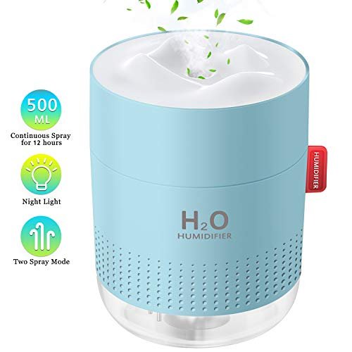 500ml Portable Humidifier, Mini Cool Mist Humidifier with Night Light, USB Personal Humidifier Auto Shut-Off, Ultra-Quiet, 2 Spray Modes, Suitable for Home Baby Bedroom Office Travel (Humidifier Blue)
