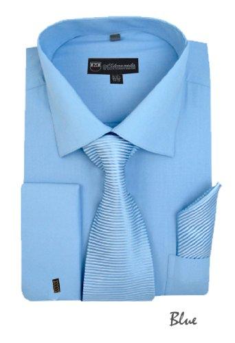 Milano Moda Solid Dress  with Tie, Hankie & French Cuffs SG27-Blue-17-17 1/2-34-35