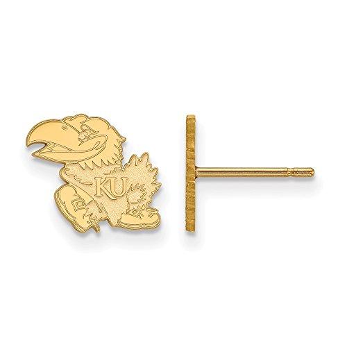 10k Yellow Gold LogoArt Official Licensed Collegiate University of Kansas (KU) XS Post Earrings by LogoArt