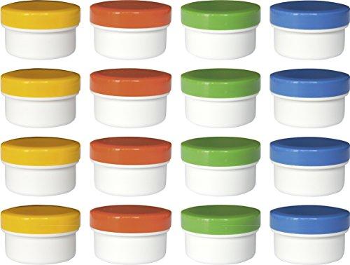 16 Salbendöschen, Cremedöschen, Salbenkruken 6ml Inhalt mit farbigen Deckeln - MADE IN GERMANY