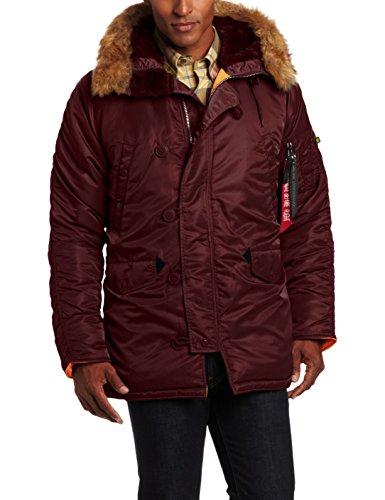 (Alpha Industries Men's N-3B Slim-Fit Parka Jacket with Removable Faux-Fur Hood Trim, Maroon/Orange, Medium )
