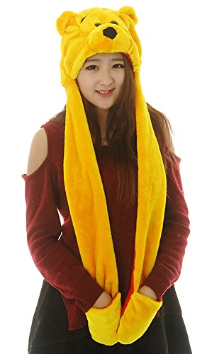 Cute Winnie The Pooh Costume (Funnie 21 Novelty Animal HAT Cosplay CAP - Unisex Fit Adult & Children- Soft Warm Headwraps Headwear with Mittens (Winnie The Pooh))