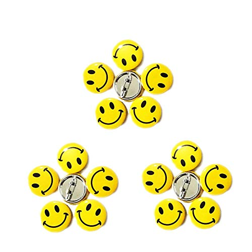LGEGE 96pcs Mini Metal Smiley Smile Face Button Pins