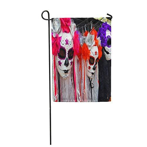 Semtomn Garden Flag Traditional Mexican Colorful Skull Costumes La Muerte Mask ¨C 28