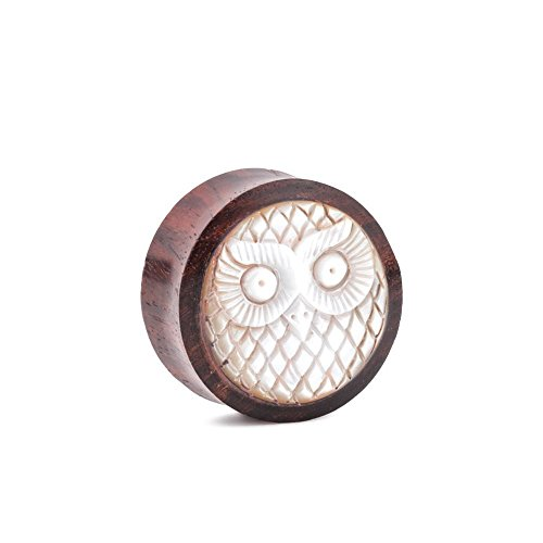 Elementals Organics Sono Wood Plug For Ear – Ear Gauge with Mother of Pearl Owl Inlay, 20mm, 13/16 Inch, Price Per 1 Earring (Sono Wood Plug)