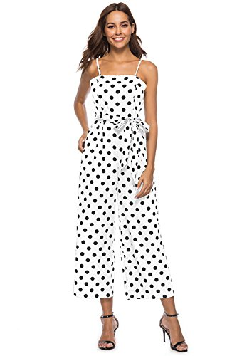 Stretch Polka Dot - FairyMei Women's Striped Waist Belted Back Wide Leg Casual Loose Polka Dot Jumpsuit Rompers with Floral Print Pleated mid Dress(XXL,White)