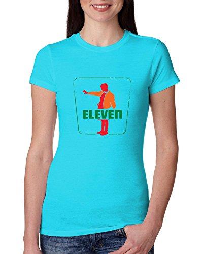 Seven Eleven   Strange Fan Parody   Womens Pop Culture Junior Fit Tee Graphic T Shirt  Tahiti Blue  X Large