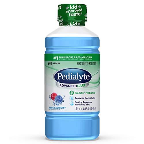 Pedialyte AdvancedCare Electrolyte Solution with PreActiv Prebiotics, Hydration Drink, Blue Raspberry, 1 Liter, 33.8 Fl Oz