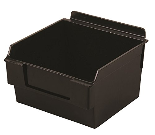 Slatwall Storage / Display bin, Plastic (polypropylene), 5.25''L x 5.5''W x 3.37''H, Black (20 Pack) Fits grid and pegboard with optional adapters. by Slatbox brand, Shelfbox 100 model