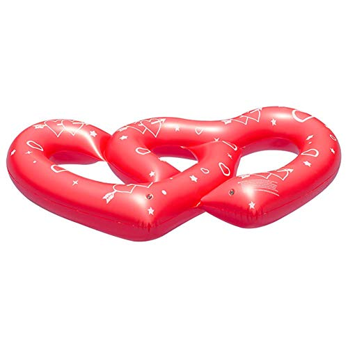 SHARESUN Heart-Shaped Swimming Ring, Environmentally Friendly PVC Inflatable Floating Bed, Double Heart Couple Water Toy Floating Row, Multi-Function seat Ring, red, 170110cm ()
