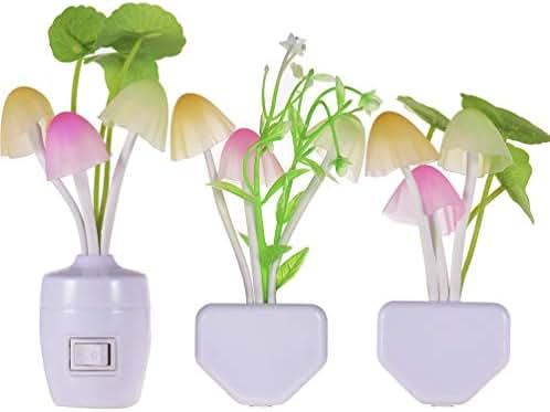 [3 Pack] Warmstor Mushroom Night Light, Lotus Leaves Water-weeds Plug-in Mushrooms Colors Changing Nightlight Colorful Bedside Lamps Breast-feeding LED Night Lights for Baby Kids Children Adult