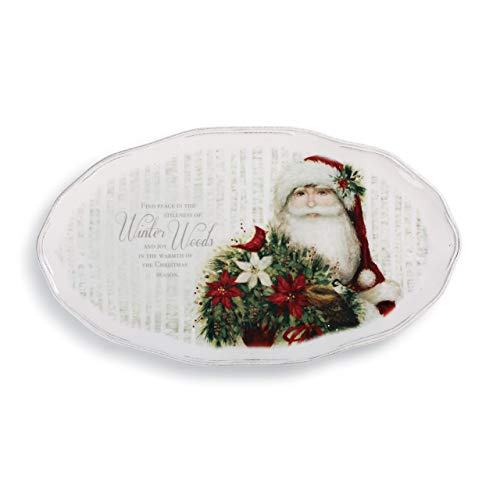 - Botanical Santa Winter White 16 x 9 Ceramic Earthenware Christmas Oval Platter