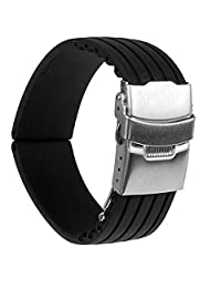 22mm Silicone Rubber Sport Waterproof Watch Band Strap Deployment Buckle Black