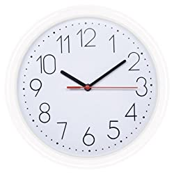 HITO 10-Inch Silent Non-ticking Wall Clock (White)