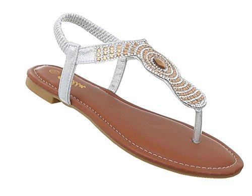 Damen Schuhe Sandalen Zehentrenner Silber