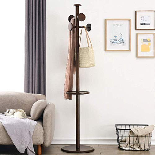 WG Wooden Coat Rack Hanger Landing Bedroom Clothes Rack Simple Single Pole Living Room Foyer Creative Hanger (4 Hooks),Brown