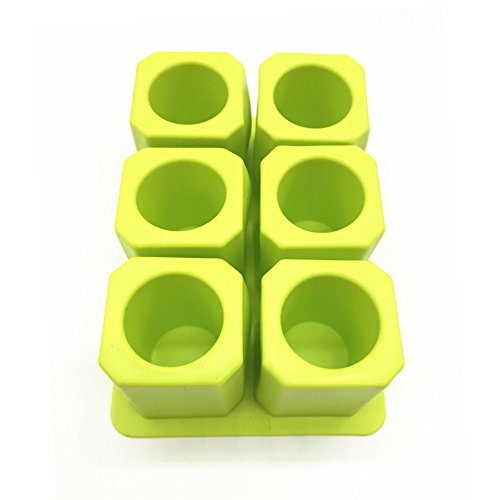 Silicone Ice Shot Glass Mold, 6 cups Square Green Ice Cube T