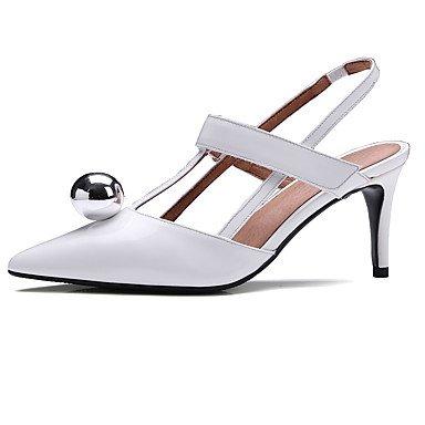 LvYuan Tacón Stiletto-Zapatos del club-Sandalias-Oficina y Trabajo Vestido Informal-Cuero-Negro Blanco White