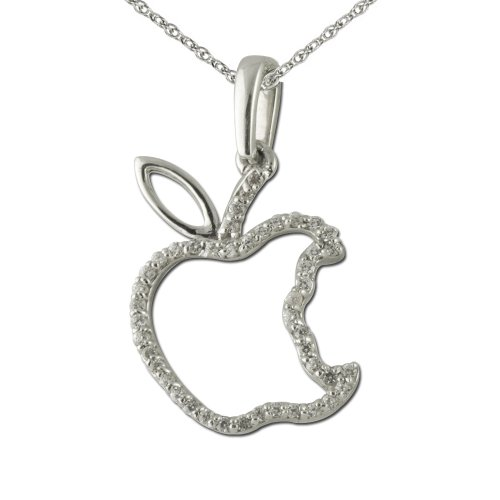 Diamond Apple Pendant - Diamond Apple Pendant 0.13 ct tw in 925 Sterling Silver with 18 inches Silver Chain