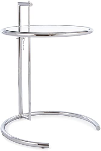 Mid Century Modern Eileen Gray Style Chrome and Glass Side End Table