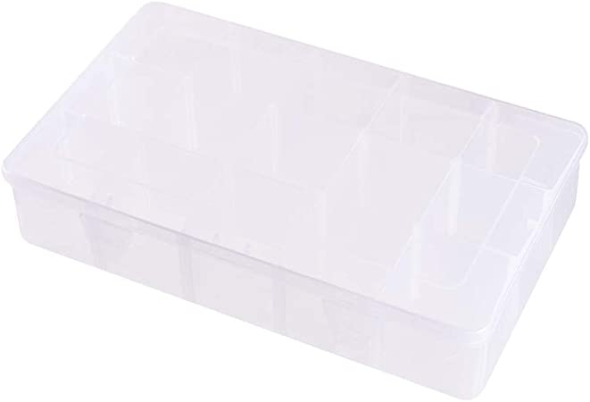 NBEADS - Caja Separadora de Joyería de Plástico Blanco, Organizador de 15 Compartimentos, Caja de Joyería Ajustable, Contenedor de Almacenamiento para Joyas, Herramientas Y Señuelos de Pesca: Amazon.es: Hogar